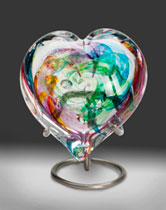 glass heart urn for pet memorial cremation ashes