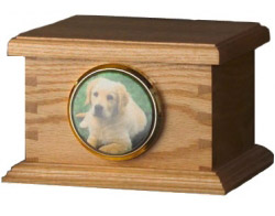 dovetail oak wood urn for pet memorial cremation ashes