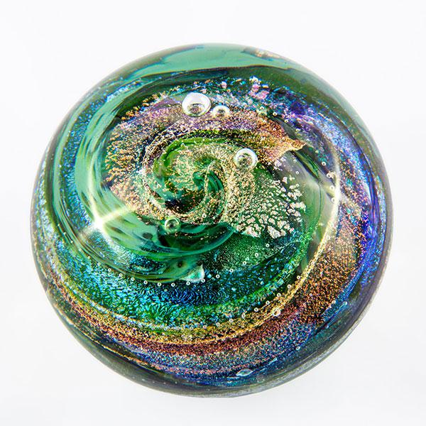 green pet memorial glass sphere