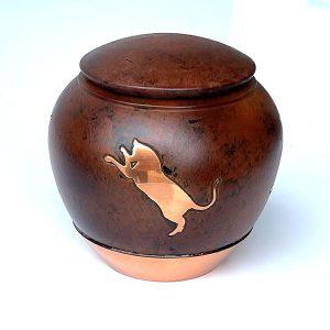 rust colored cat urn