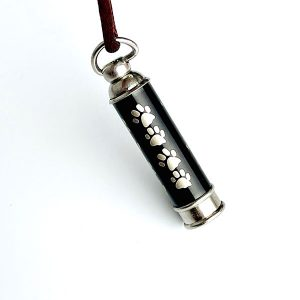 stainless steel necklace paw print urn
