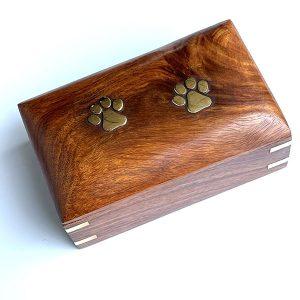 pawprint wooden urn